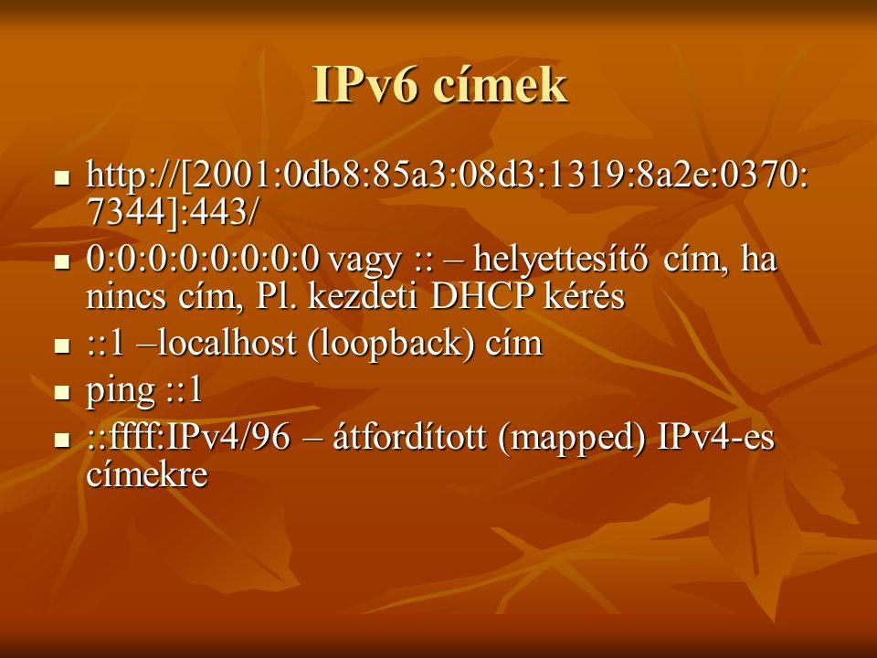 IPv6 címek http://[2001:0db8:85a3:08d3:1319:8a2e:0370:7344]:443/